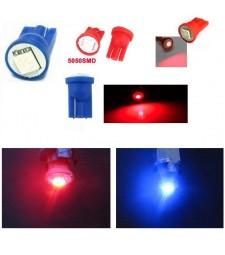 Bombilla Led T10 W5W Smd Rojo o Azul Posición Interior Matrícula Coche
