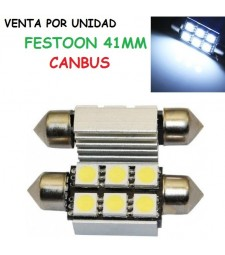 Festoon Canbus 6 LED 41MM 5050 SMD BLANCO FRIO